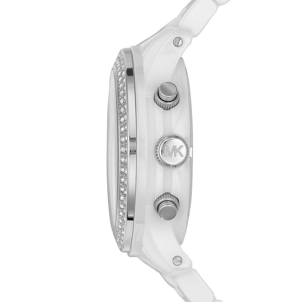 【MICHAEL KORS】正品 簡約時尚躍動三眼計時陶瓷腕錶 MK5188 白 1