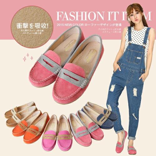 BONJOUR 365天拼色樂福鞋☆ 100%麂皮平底鞋Loafer  shoes    C. 【ZB0239】5色 0