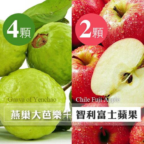 【台北濱江】精選果物!台灣產嚴選燕巢牛奶芭樂4顆+智利富士蘋果2顆裝