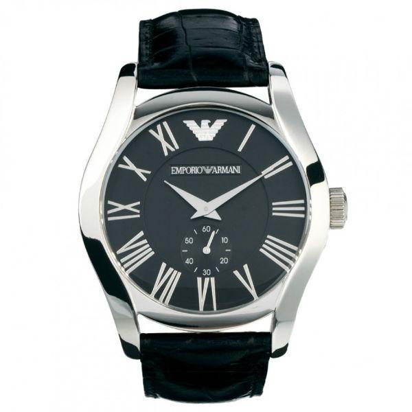 EMPORIO ARMANI/AR0643義式羅馬小秒針腕錶/黑面42.5mm