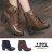 格子舖*【KDW8362】MIT台灣製 個性透氣皮革金屬釦環 側拉鍊穿拖 綁帶7CM粗高跟短靴 馬丁靴 2色 0