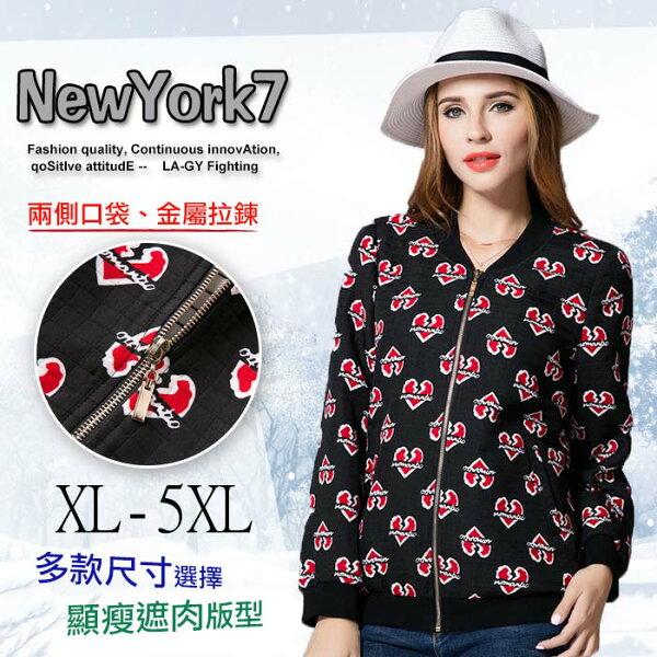 大尺碼 歐美心型印花寬鬆棒球服長袖外套XL~5XL【紐約七號】A2-618