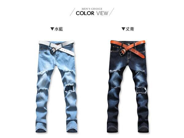 ☆BOY-2☆【KK3849】韓國破膝刷色破壞牛仔褲 1