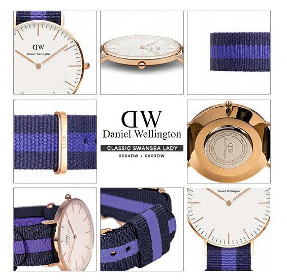 瑞典正品代購 Daniel Wellington 0504DW 玫瑰金 尼龍 帆布錶帶 女錶手錶腕錶 36MM 3