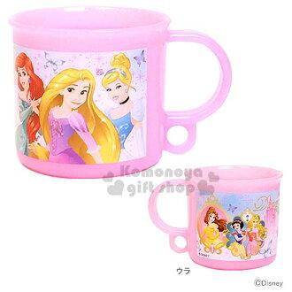 〔小禮堂〕迪士尼 公主 日製單把手塑膠杯《小.粉.玫瑰.蝴蝶.200ml.附防水姓名貼》可當水杯或漱口杯
