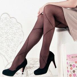 【esoxshop】╭*交叉直線緹花造型褲襪╭*流行時尚款《絲襪/褲襪褲/造型襪》