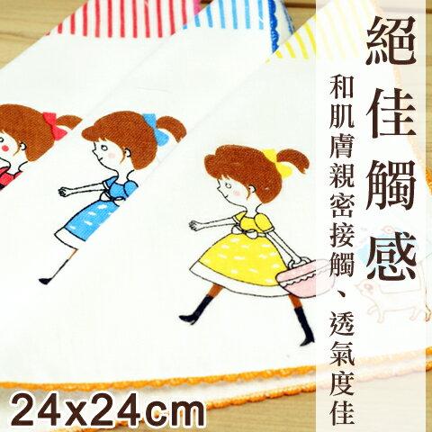 【esoxshop】May Crown 日本技術-紗布方巾-女孩與貓│手感細膩《澡巾/手帕/兒童毛巾/紗布巾》