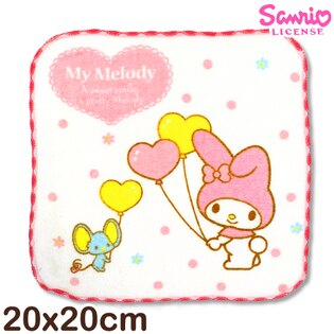【esoxshop】Sanrio 美樂蒂窯花小手巾-拿氣球│MIT台灣製造好安心《三麗鷗/My Melody/方巾/澡巾/手帕/兒童毛巾》