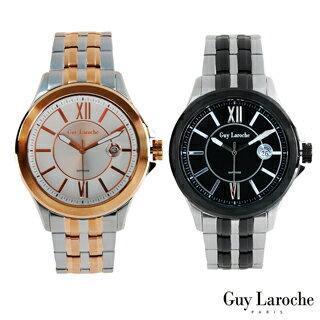 【嚴購網】Guy Laroche姬龍雪法國全球限量不鏽鋼羅馬數字圓盤腕錶(黑色/玫瑰金)2色任選