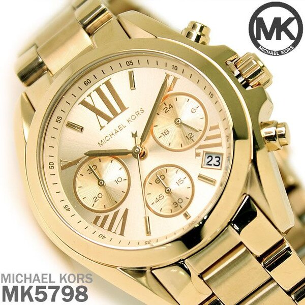 美國Outlet 正品代購 MichaelKors MK 金色熱吻巴黎三環計時手錶腕錶 MK5798 0