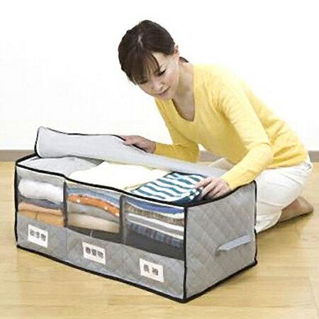 竹炭上開式標籤三格分類視窗收納箱 大容量 可折疊 收納袋 防塵 衣物 棉被 換季~N201