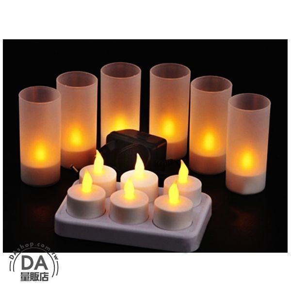 《DA量販店》黃色 LED 電子 充電 蠟燭 燈罩 造型燈 裝飾 一套6座(V50-1364)