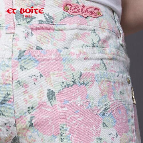 【ET BOîTE 箱子】 印彩花卉超短褲(粉) 1