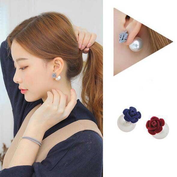 PS  Mall 韓版時尚誇張玫瑰花絨布雙面大珍珠氣質圓形水晶耳環 耳飾 耳針【G1913】