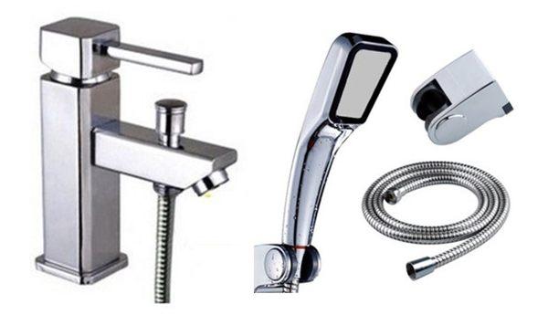 兩用淋浴面盆組 水龍頭  附蓮蓬頭+軟管 高質感銅電鍍 方便 好用