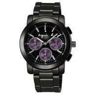 agnès b.到agnes b BWY058P1(V654-0A0E鐵)夢幻紫三眼時尚腕錶/黑面38mm