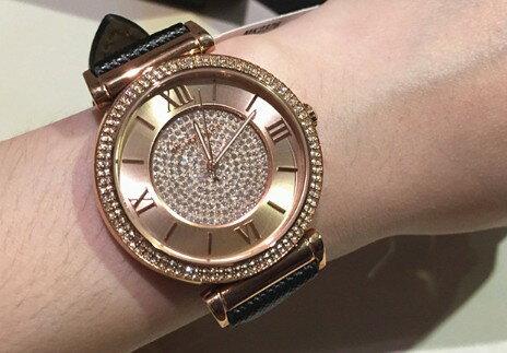 美國Outlet 正品代購 MichaelKors MK 玫瑰金鑲鑽 黑色皮帶三環計時手錶腕錶 MK2376 7