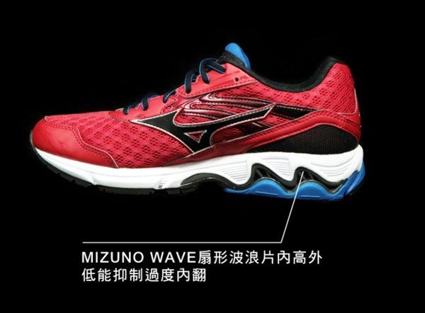 Mizuno美津濃 男款慢跑鞋 WAVE INSPIRE 12 支撐型 -湛藍紅 1