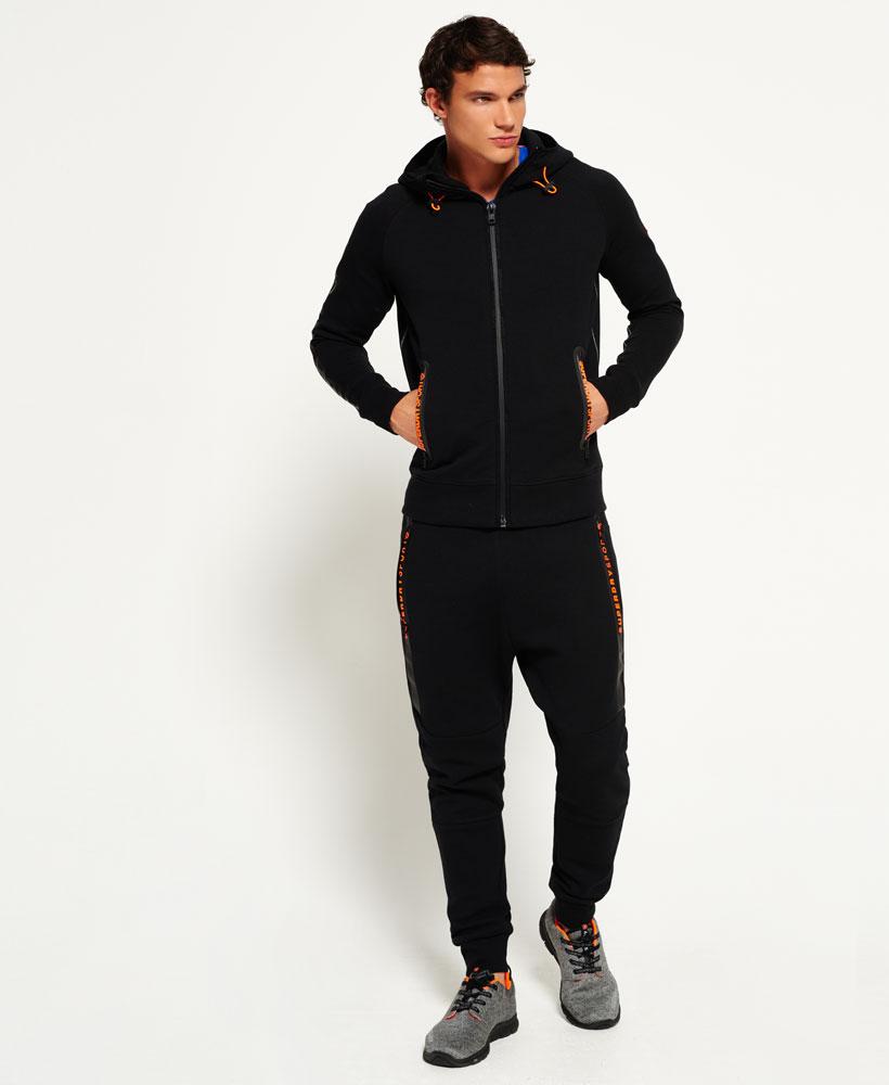 [男款] 英國名品 代購 極度乾燥 Superdry Gym Tech Panel 拉鍊運動男士戶外休閒連帽外套 黑色 1