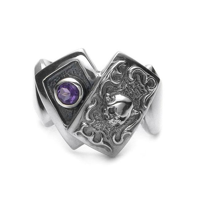 網路獨家【F.A.L】小丑骷髏樸克牌純銀戒指-紫水晶 (FA-R-0044-AM) 1