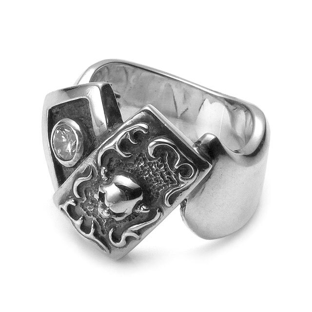 網路獨家【F.A.L】小丑骷髏樸克牌純銀戒指-CZ白鑽 (FA-R-0044-CZC) 0