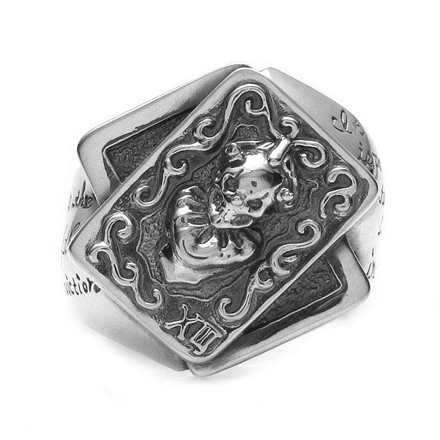 網路獨家【F.A.L】小丑骷髏樸克牌純銀戒指-進化版 (FA-R-0079) 1