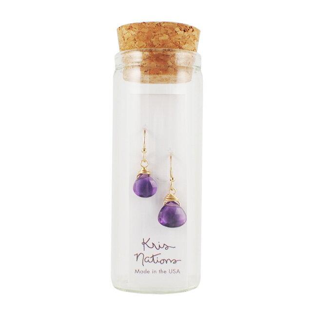 【現貨商品】【Kris Nations】神秘寶石垂墜式耳環 紫水晶(E-MYSTGEM-G-Amy  0822850000) 0