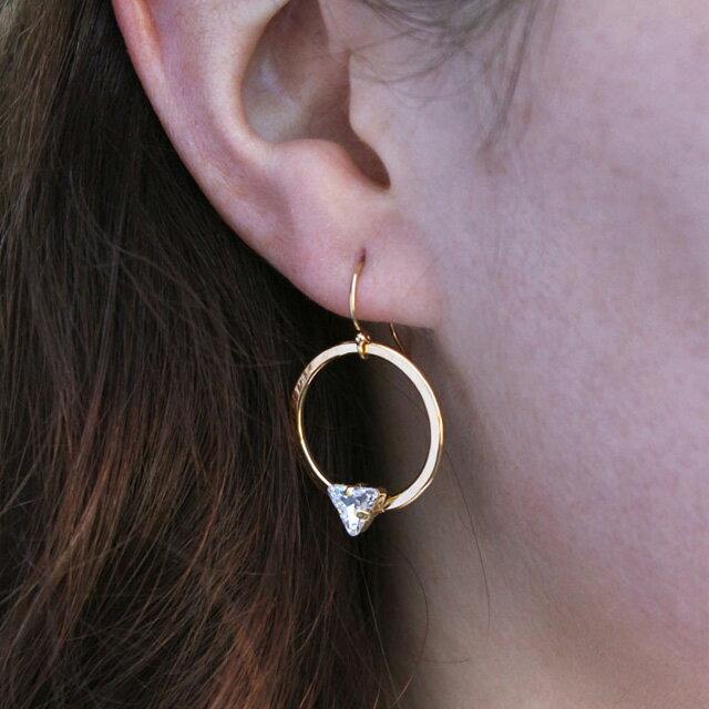 【現貨商品】【Kris Nations】Angel Fire 三角鑽圓形耳環(E432-G  0822840000) 1