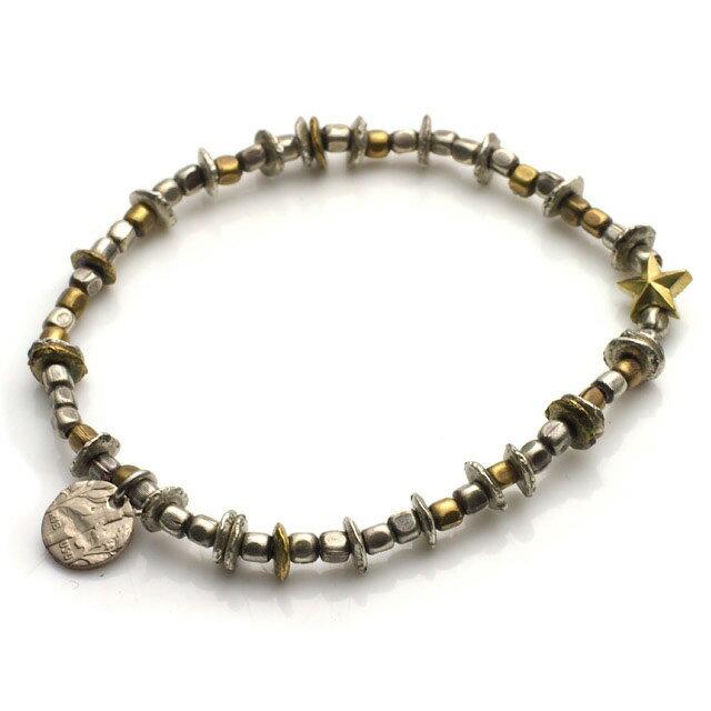 【海外訂購】【amp japan】星星串珠小銅幣墜飾手鍊(AMP-13AHK-140-Silver&gold  06412200OE) 0