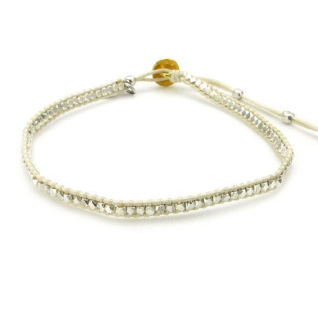 【現貨商品】【amp japan】銀珠塊編織棉繩手環-白色(AMP-14AH-445WH  0782960000) 0