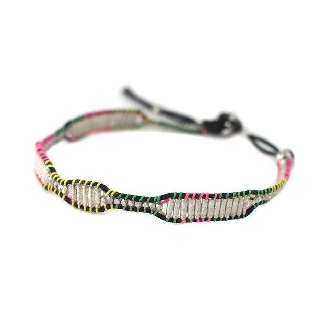 【海外訂購】【amp japan】銀珠塊混色棉繩編織單圈手環(AMP-14AH-450  0783000000) 0