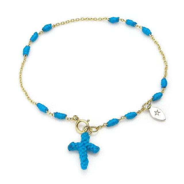 【海外訂購】【amp japan】土耳其藍十字架14K金棉紗手環(AMP-14AH-465BL  0783070000) 0