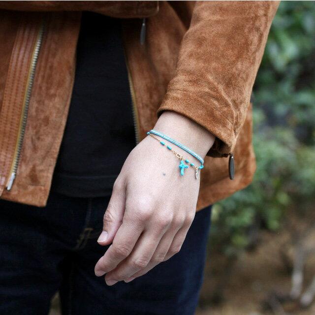 【海外訂購】【amp japan】土耳其藍十字架14K金棉紗手環(AMP-14AH-465BL  0783070000) 1