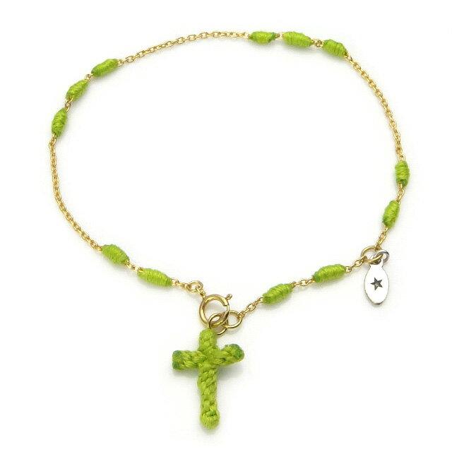 【現貨商品】【amp japan】亮綠色十字架14K金棉紗手環(AMP-14AH-465GR  0783080000) 0