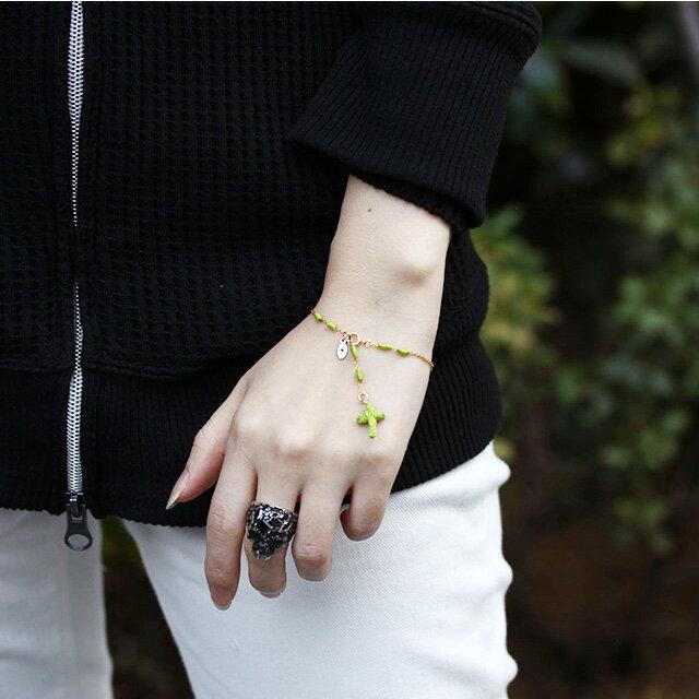 【現貨商品】【amp japan】亮綠色十字架14K金棉紗手環(AMP-14AH-465GR  0783080000) 3