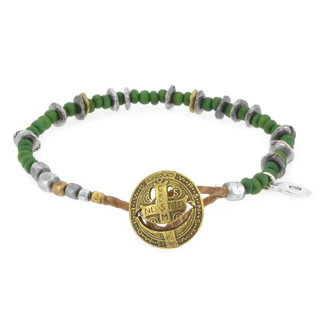 【amp japan】微笑銅幣串珠手鍊-綠 (AMP-14AHK-401-green) 0