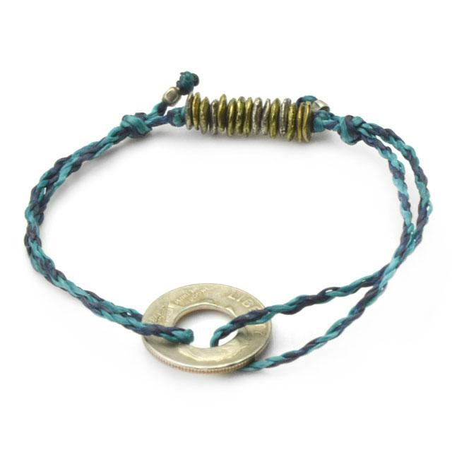 【海外訂購】【amp japan】10 Cent 錢幣藍色蠟繩手環(AMP-14AHK-420BL  0755430000) 0