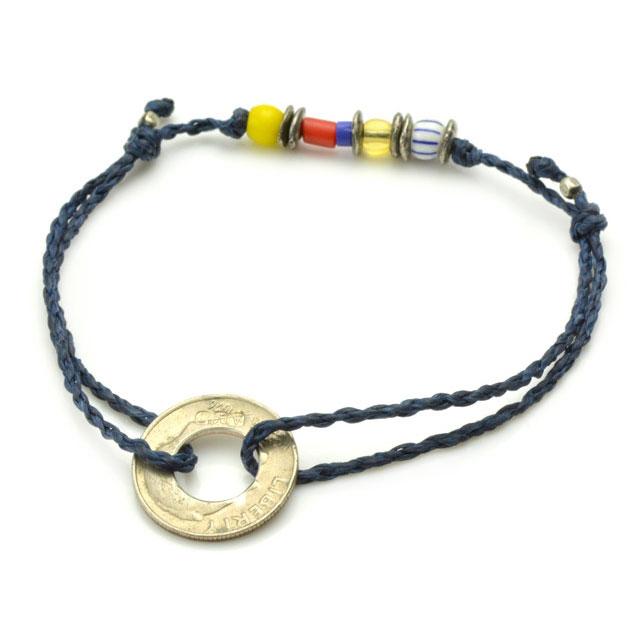 【海外訂購】【amp japan】10 Cent 錢幣童玩風藍色蠟繩手環(AMP-14AHK-421NV  0755470000) 0
