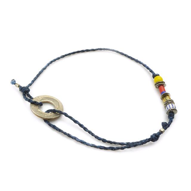 【海外訂購】【amp japan】10 Cent 錢幣童玩風藍色蠟繩手環(AMP-14AHK-421NV  0755470000) 1