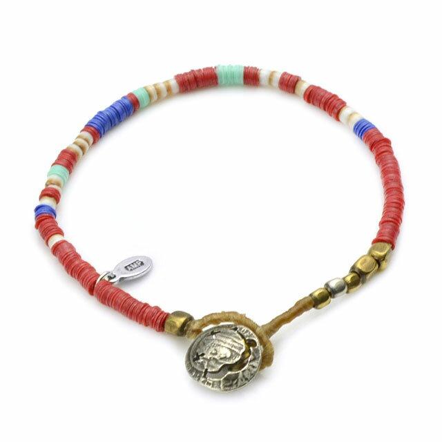 【海外訂購】【amp japan】非洲盤珠紅色蠟繩手環(AMP-14AHK-425RD  0756930000) 0