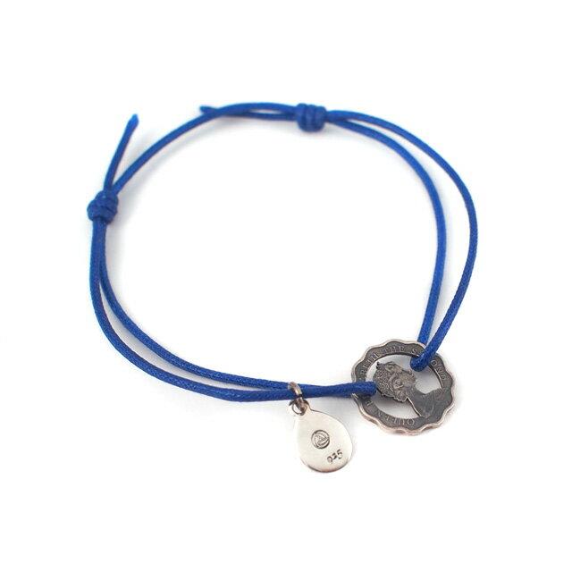 【海外訂購】【amp japan】中空純銀錢幣藍色細繩手環(AMP-8AM-110S  0561060002) 0
