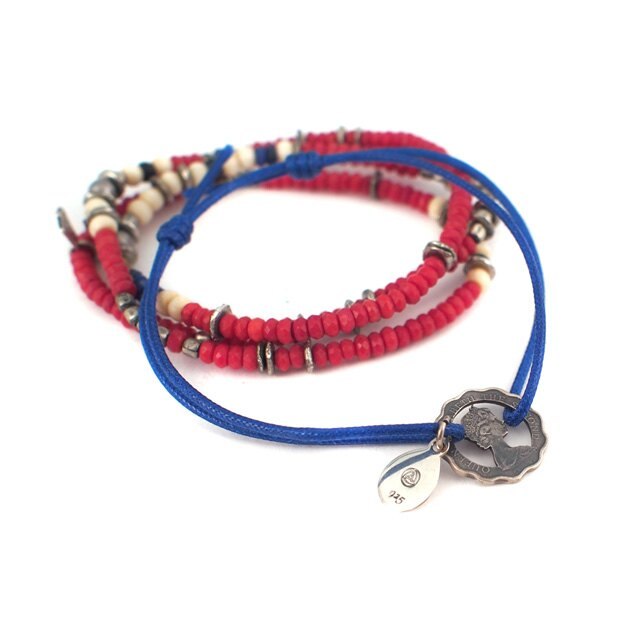 【海外訂購】【amp japan】中空純銀錢幣藍色細繩手環(AMP-8AM-110S  0561060002) 1
