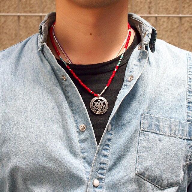 【海外訂購】【amp japan】老鷹錢幣紅色串珠項鍊(AMPC-13ACH-107  0641500000) 1