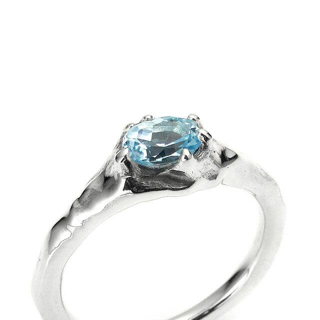 【海外訂購】【Bloody Mary】地之光 天空藍托帕石純銀戒指(BMR1269B-Skbt) 1