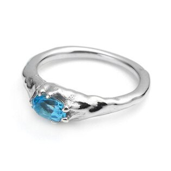 【海外訂購】【Bloody Mary】地之光 瑞士藍托帕石純銀戒指(BMR1269B-Swbt)