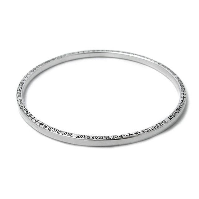 【海外訂購】【Chrome Hearts】NTFL 素面刻字純銀手環(CHBB-009  0112000000) 0