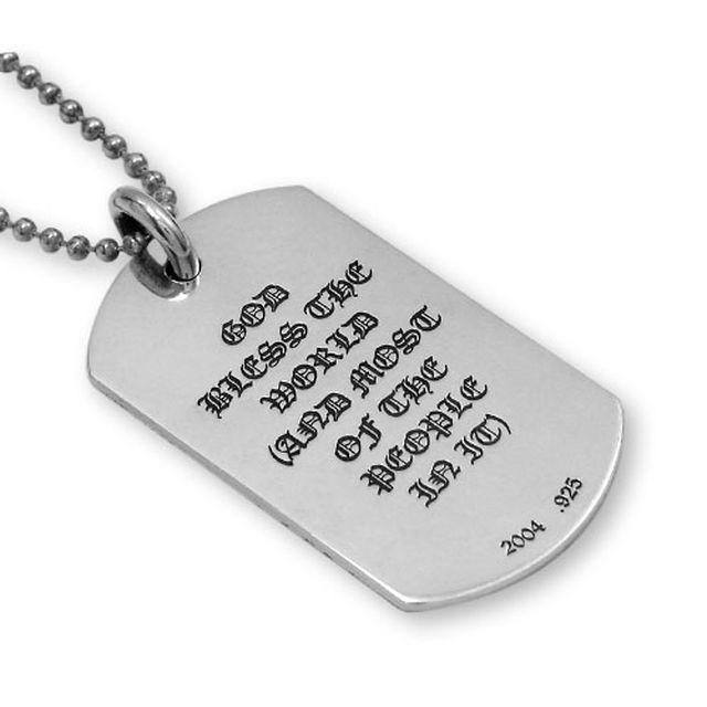 【現貨商品】【Chrome Hearts】God bless the world 經典LOGO純銀軍牌項鍊(CHDT-019  0095000000) 3