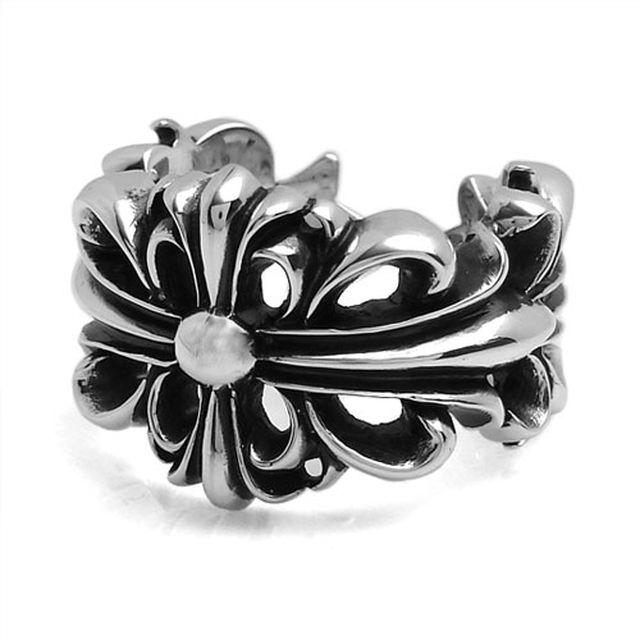 【海外訂購】【Chrome Hearts】Floral cross 雙層十字架花紋純銀戒指(CHR-059) 0