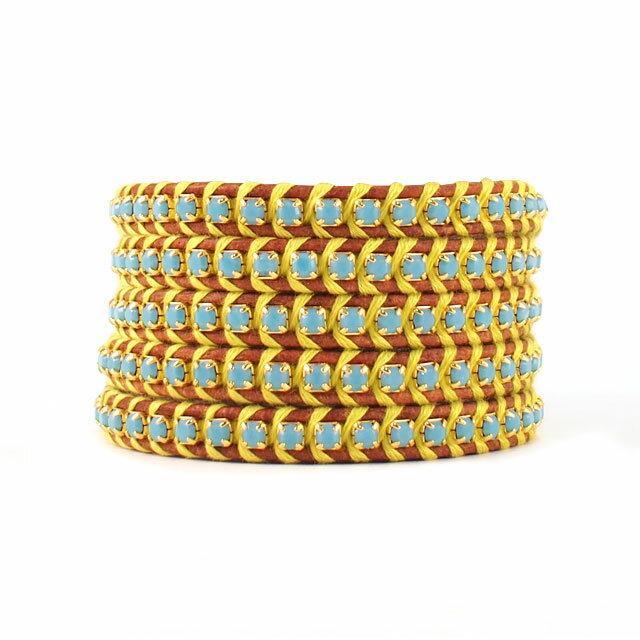 【現貨商品】【CHAN LUU】土耳其石金屬棕色皮繩手環/5圈(CL-BGZ-3305Tq-NaturalBrown  06252200L3) 0