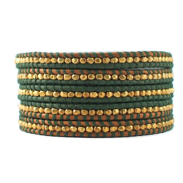 【現貨商品】【CHAN LUU】鍍金塊珠綠色皮繩手環/5圈 (CL-BG-1492-Berol  04744300BI) 0